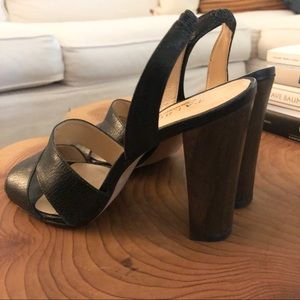Talbots 7B black leather heels